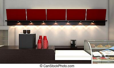 3D Coffee Shop  - 3D render of bright coffee shop interior