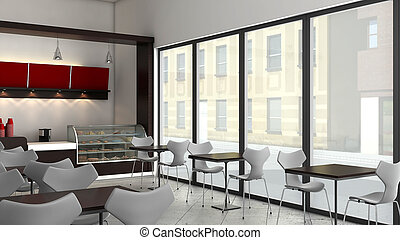 3D Coffee Shop  - 3D render of bright coffee shop interior