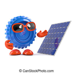 3d Cog looks at a solar panel