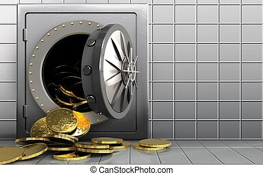 3d coins over white wall