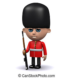 3d Coldstream Guard on sentry duty - 3d render of a ...