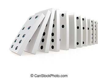 3d Collapsing chain of dominoes - 3d render of white...