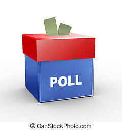 3d illustration of collection box of poll