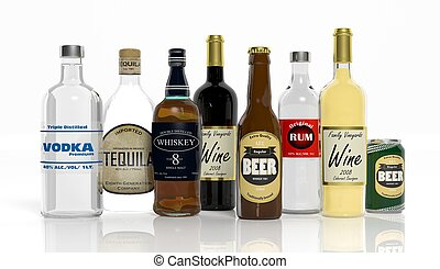 3D collection of alcoholic beverages bottles isolated on...