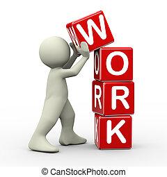 3d, colocación, trabajo, cubos, hombre
