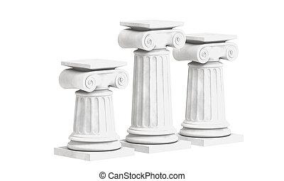 3d, colonnes, isolé, grec