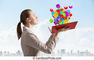 3d, coloré, cubes, voler, regarde, femme