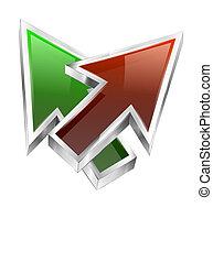 3d color arrows concept icon