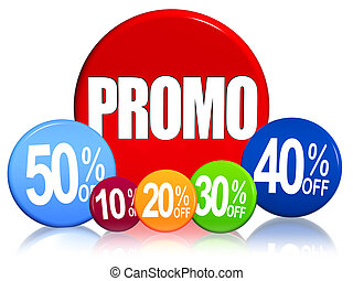 3d color circles with different percentages and text Promo