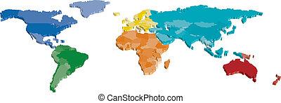 3d, color, continente, y, país, mapa
