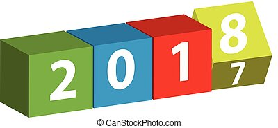 3D color cube with text 2018 isolated on white background.