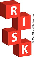 3D color cube with text risk isolated on white background