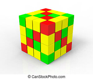 3d color cubes on white