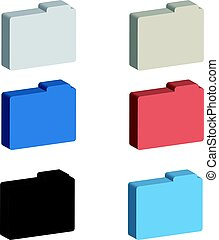 3D color folders on white background