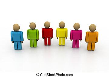 3d, color, gente