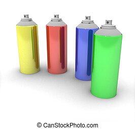 3d color spray cans