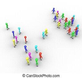 3d, coloreado, gente, blanco, plano de fondo