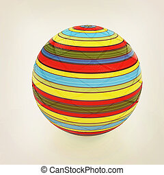 3d colored ball. 3D illustration. Vintage style.