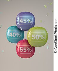 3D colored balloons percent off sale