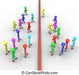 3d colored people on white background with a dividing line