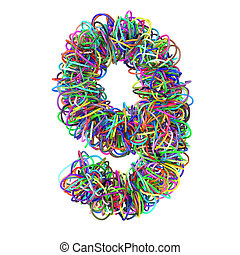 3d colored wires creative cartoon decorative number 9