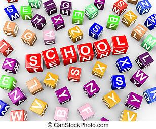3d colorful alphabets blocks cubes word school