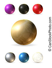 3d colorful balls into golden grid
