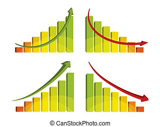 3d colorful bar chart with arrow