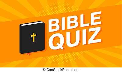 3d colorful Bible quiz text on pop art rays background. Vector