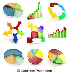 3d colorful business graph set, on white background