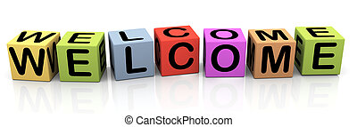 3d colorful buzzword text welcome
