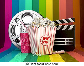 3D Colorful Cinema concept