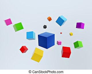 3d colorful cubes