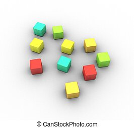 3d colorful cubes on a white background