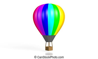 3D colorful hot air balloon on white background