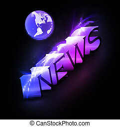 3d colorful news text with globe eps10