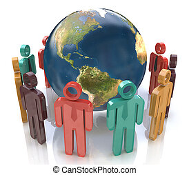 3d colorful people around the globe. Concept of global communication