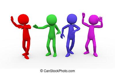 3d colorful people fun dancing