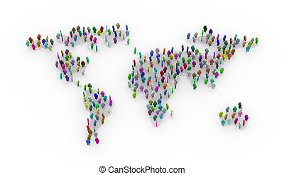 3d colorful people standing on world map