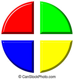 3d colorful pie chart with four equal portions isolated in...