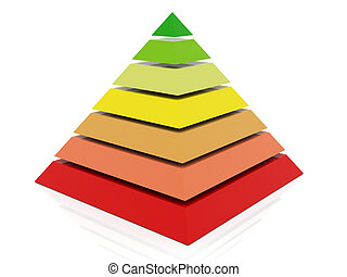 3d colorful pyramid - 3d render of layered abstract colorful...