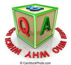 3d colorful question answer cube