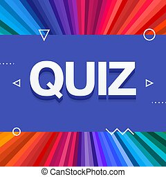 3d colorful quiz text on colourful rainbow rays background. Vector