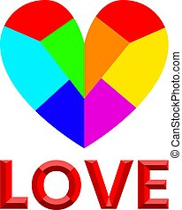 3d colorful rainbow heart, vector element for design