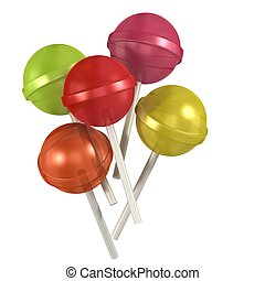 3d colorful sweet lollipops on white background