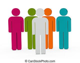 3d colorful team
