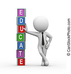 3d rendering of man standing with colorful cubes word text educate. 3d white person people man