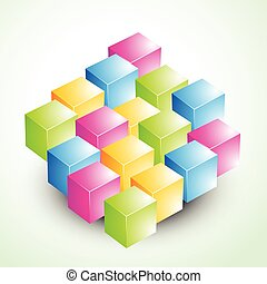 3d colorful vector cubes