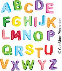 3d, colorfull, alfabet