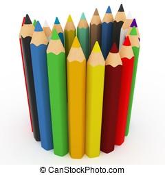 3d, colorido, lápices, onda
